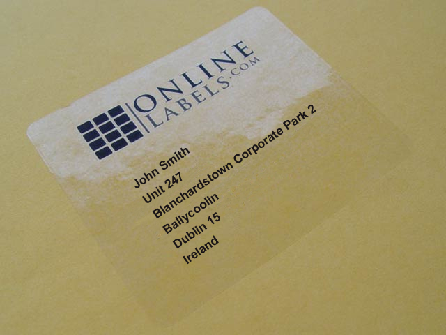 Custom Card Template online lables : Clear Gloss Inkjet Labels on A4 Sheets - Online Labels Ltd
